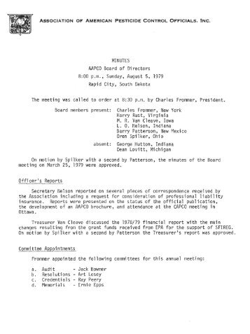MINUTES AAPCO Board of Directors 8:00 p.m., Sunday, August 5 ...