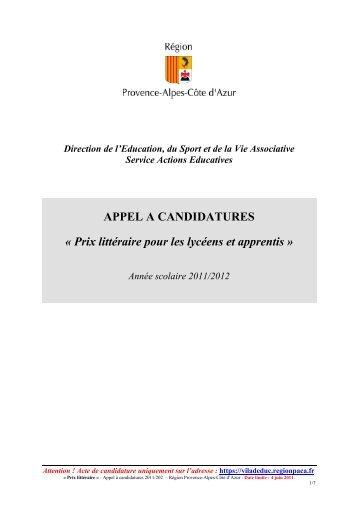 APPEL A PROJET-Prix littéraire- 2011-2012 - Prix littéraire des ...