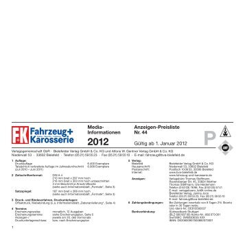 Anzeigen-Preisliste Nr. 44 Gültig ab 1. Januar 2012 Media ...