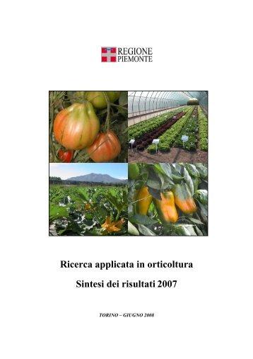 Ricerca applicata in orticoltura Sintesi dei risultati 2007 - InfoKeeper