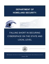 Democratic Analysis - Committee on Homeland Security