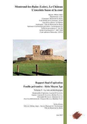 Montrond-les-Bains (Loire), Le Château L ... - Archeodunum SA