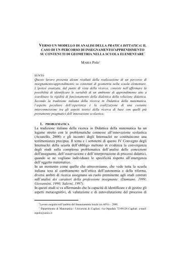 il caso di un percorso di insegnamento/apprendimento - Seminario ...