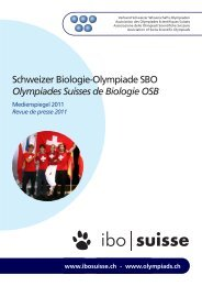 Schweizer Biologie-Olympiade SBO Olympiades Suisses de ...
