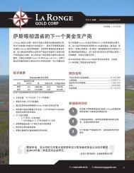 萨斯喀彻温省的下一个黄金生产商 - La Ronge Gold Corp
