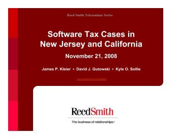 Software Tax Cases in NJ and CA (21 Nov 2008) - Reed Smith