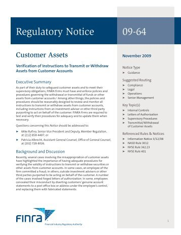 Regulatory Notice 09-64 - finra
