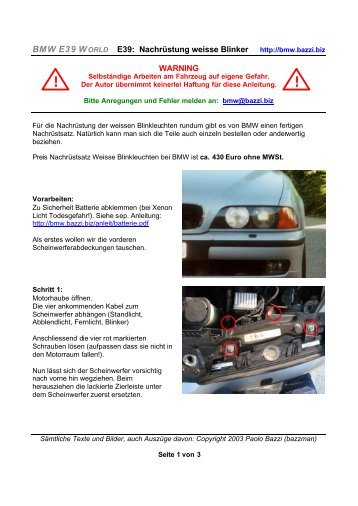 Nachrüstung weisser Blinkleuchten - BMW-Syndikat