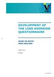 development of the loss aversion questionnaire shari ... - Vlerick Public