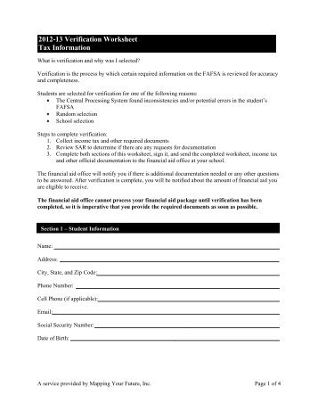 2012 13 verification worksheet tax information mapping your future ibookread ePUb