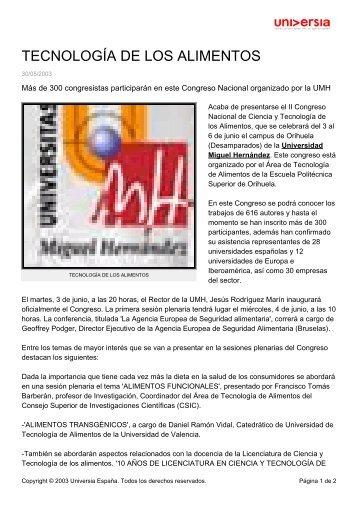 TECNOLOGÍA DE LOS ALIMENTOS - Noticias Universia