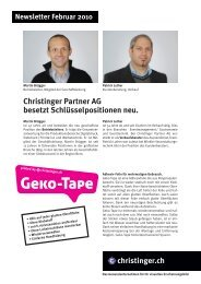 Christinger Partner AG besetzt Schlüsselpositionen neu.