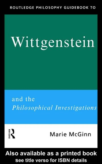 Wittgenstein and the Philosophical Investigations
