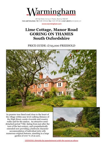 Lime Cottage, Manor Road GORING ON THAMES ... - Warmingham