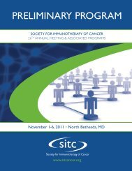 Preliminary Program - 9-16-11 - Society for Immunotherapy of Cancer