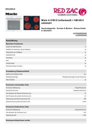Produktdatenblatt Miele H 4700 E brillantweiß + KM 6012 ... - Red Zac