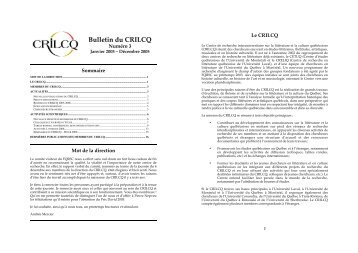 Bulletin du CRILCQ