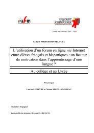 L'utilisation d'un forum en ligne via Internet entre élèves ... - Galanet