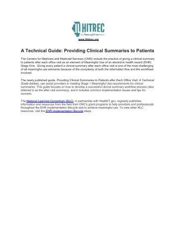 Providing Clinical Summaries to Patients - IL-HITREC