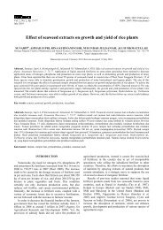 Effect of seaweed extracts on growth and yield of rice plants