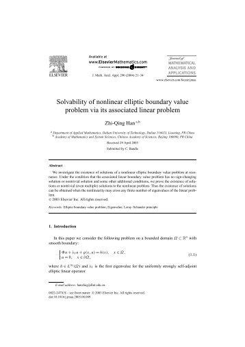 Solvability of nonlinear elliptic boundary value problem via its ...