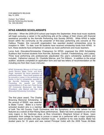 KPAS AWARDS SCHOLARSHIPS - Kerrville Performing Arts Society