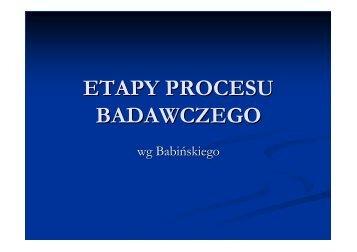 ETAPY PROCESU BADAWCZEGO
