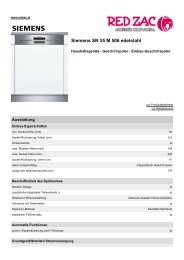 Produktdatenblatt Siemens SN 55 M 506 edelstahl - Red Zac