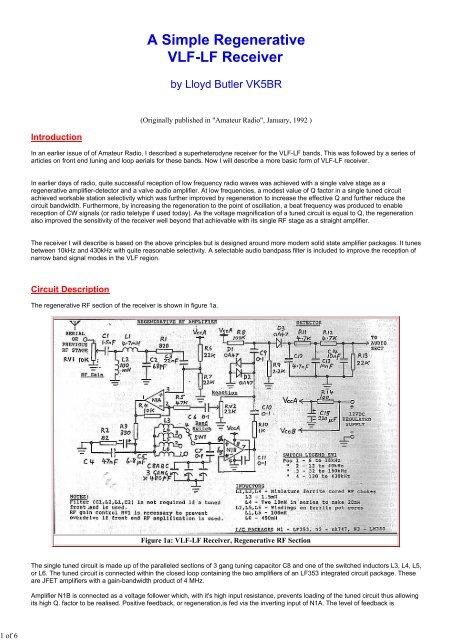 A Simple Regenerative VLF-LF Receiver