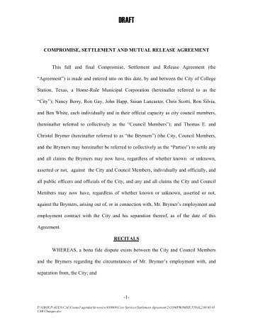 SETTLEMENT AGREEMENT AND MUTUAL RELEASE OF CLAIMS ...