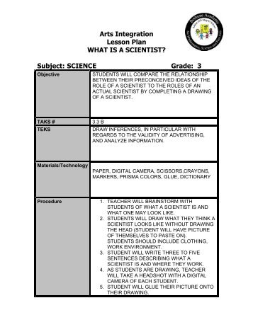 Arts Integration Lesson Plan WHAT IS A SCIENTIST? Subject ...
