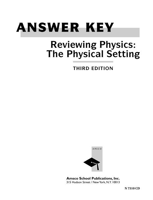ANSWER KEY Reviewing Physics The Bronx High School Of Science