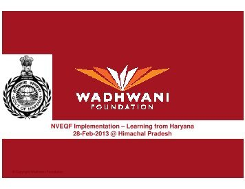 Workshop on Vocational Education-PPT by WADHWANI ...