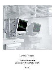 Annual report Transplant Centre University Hospital Zürich 2009