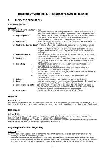 Reglement Kerkhof 2012 - Sint Marcellinus parochie