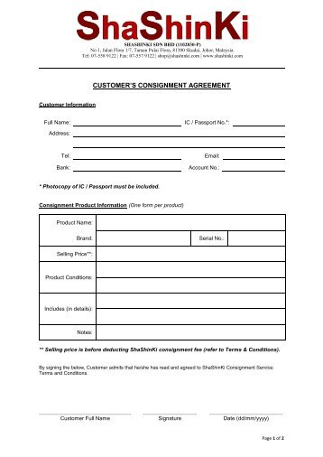 Consignment Agreement  Kc Kids