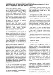 General Terms and Conditions of Deutsche Post AG for the ...