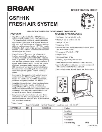 Broan Fresh Air Systems Spec Sheet - Alpine Home Air Products