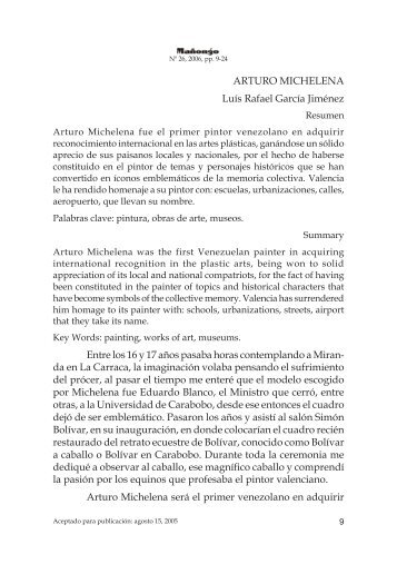 ARTURO MICHELENA Luís Rafael García Jiménez Entre los 16 y ...