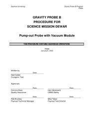 Pump Probe With Vac Module - Gravity Probe B - Stanford University