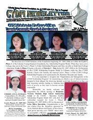 CYDF Newsletter, Vol.2, Issue 1, 2007 August 2008 - Calantas ...