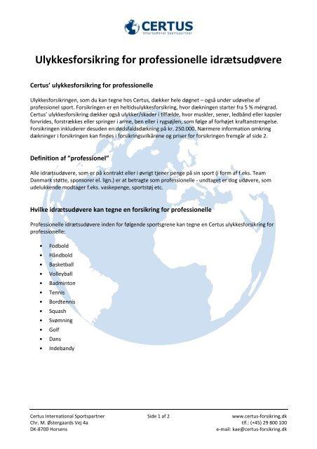 Ulykkesforsikring for professionelle idrætsudøvere - Håndbold ...