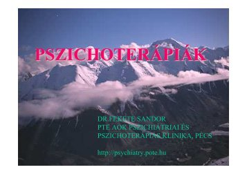 PSZICHOTERÁPIÁK - Pszichiátriai és Pszichoterápiás Klinika