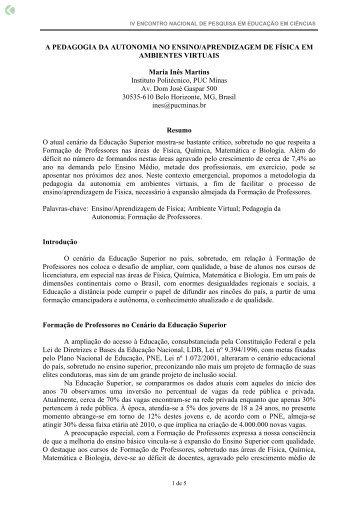 A PEDAGOGIA DA AUTONOMIA NO ENSINO ... - Axpfep1.if.usp.br