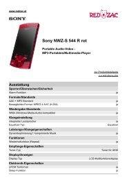 Produktdatenblatt Sony NWZ-S 544 R rot - Red Zac