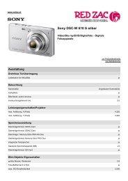 Produktdatenblatt Sony DSC-W 610 S silber - Red Zac