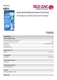 Produktdatenblatt Braun Oral-B Vitality Prec.clean D ... - Red Zac