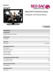 Produktdatenblatt Odys LCD TV 19 Cinema II schwarz - Red Zac