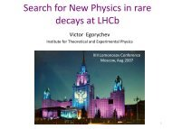 V.Egorychev (ITEP) Search for new physics in rare decays at LHCb