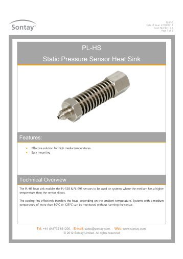 PL-HS Static Pressure Sensor Heat Sink - Sontay